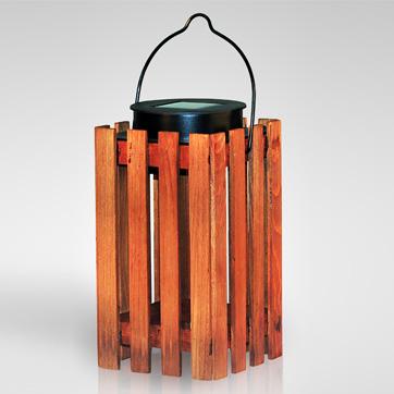solar wooden lantern light